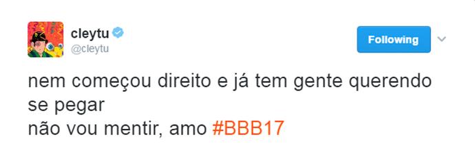 Cleytu comenta BBB (Foto: Reprodução)