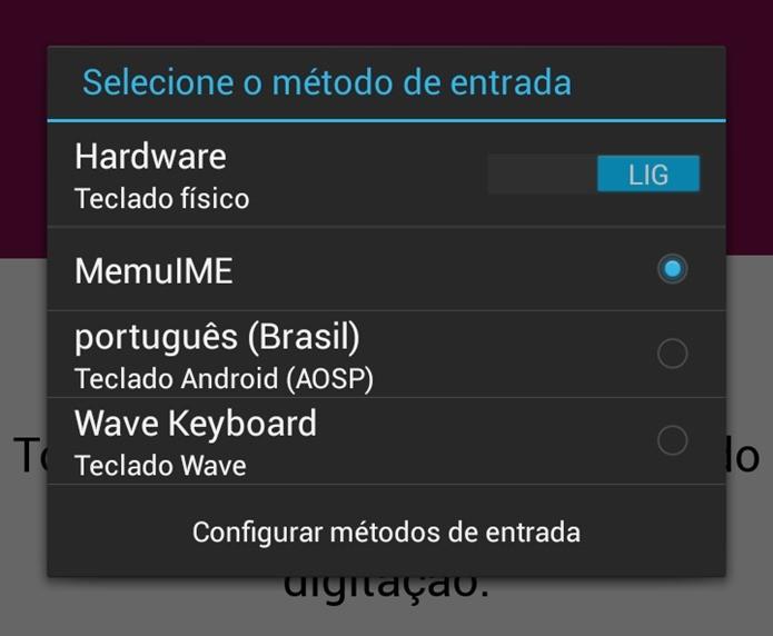 Ao abrir o app, ele leva o usuário para as configurações do Android, altere o método de entrada para que o Wave possa funcionar (Foto: Reprodução / Dario Coutinho)