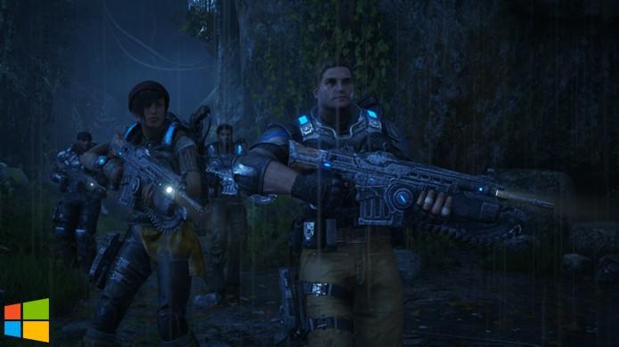 No Windows 10 há poucos detalhes a mais nas cenas escuras de Gears of War 4 (Foto: Reprodução/Hardcore Gamer)