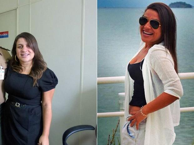 A jovem usou o mês de férias da faculdade para começar sua mudança de estilo de vida; fotos mostram antes e depois (Foto: Arquivo pessoal/Thais Teixeira Costa Zamith)