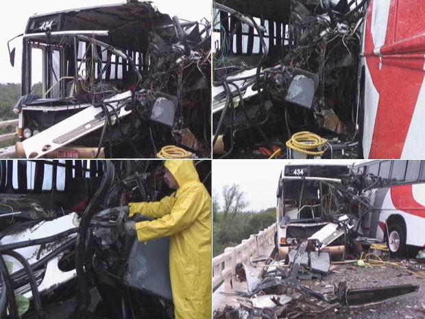 Acidente envolvendo ônibus na BR-158, no RS (Foto: Reprodução/RBS TV)