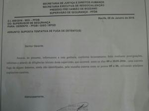 Agentes penitenciários afirmam ter alertado governo sobre fuga no Curado (Foto: João Carvalho/Sindicato dos Agentes Penitenciários/Divulgação)