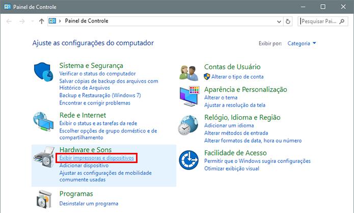 Vá até as opções de impressora do Windows (Foto: Reprodução/Paulo Alves)
