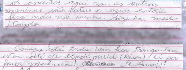 Trechos de carta da maquiadora para amiga  (Foto: Reprodução/ Arquivo pessoal)
