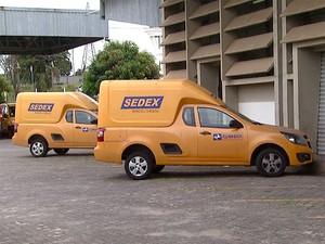 Veículos dos Correios destinados para a entrega de encomendas do Sedex (Foto: Reprodução EPTV)