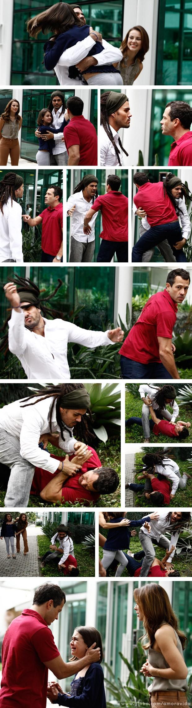 Ninho e Bruno saem no braço na frente de Paulinha (Foto: Amor à Vida / TV Globo)