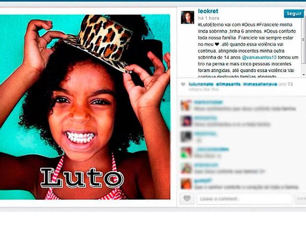 Sobrinha de Léo Kret com seis  anos é morta baleada em Salvador (Foto: Reprodução/ Instragram)