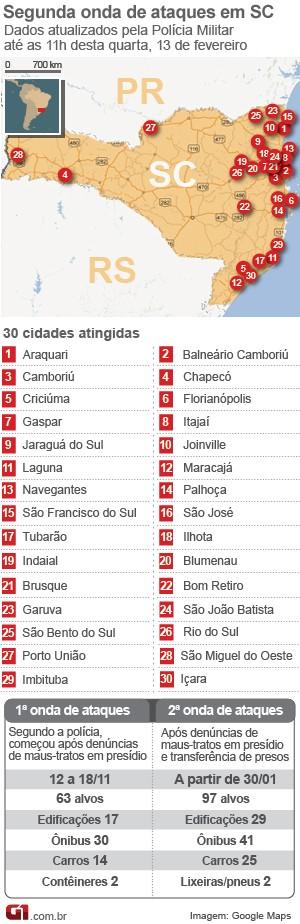 Mapa atentados Santa Catarina 13 de fevereiro, 11h25 (Foto: Arte/G1)