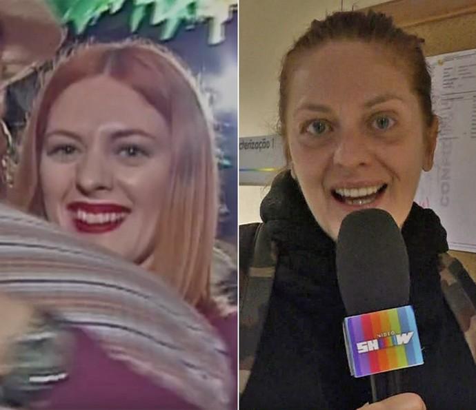 À esquerda, Chris Couto na época em que era repórter do 'Vídeo Show' e, à direita, em momento atual (Foto: Vídeo Show / TV Globo)
