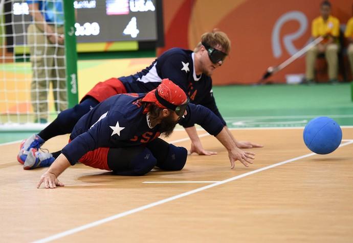 Descrição da imagem: EUA x Brasil pela semifinal do goalball (Foto: Andre Durão)