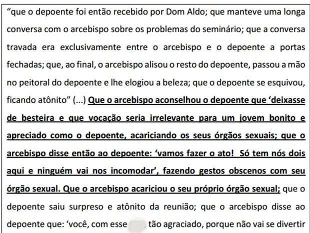 Depoimento traz acusações contra Dom Aldo Pagotto (Foto: Reprodução)