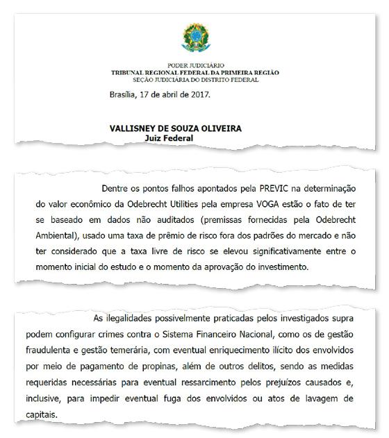 Trechos de decisão do juiz Vallisney de Oliveira que bloqueou R$ 141 milhões dos bens de cada um dos investigados (Foto: Reprodução )