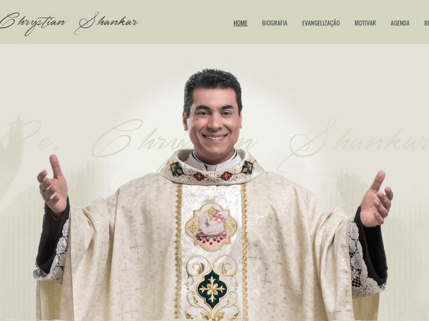 Site oficial do padre Chrystian Shankar (Foto: Reprodução/Internet)