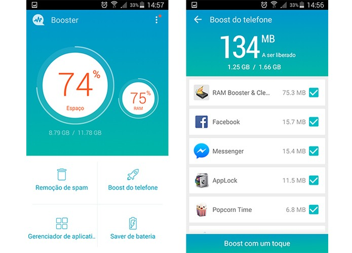 Android Booster tem função para encerrar apps rodando em segundo plano (Foto: Reprodução/Barbara Mannara)