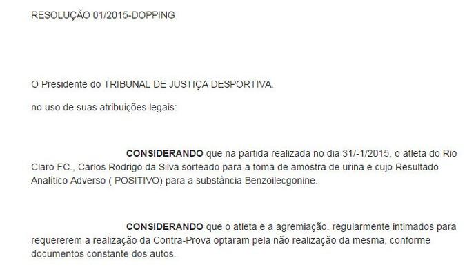 Exame antidoping Rodrigo Ninja, Rio Claro (Foto: Reprodução/FPF)