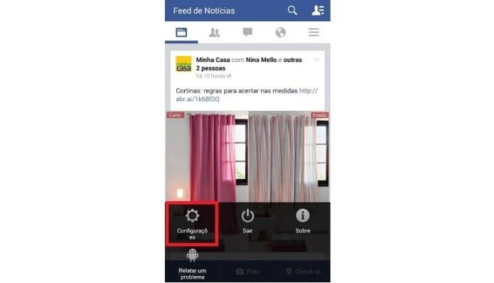 Atalho para as configurações do aplicativo no Android (Foto: Reprodução/Lívia Dâmaso)