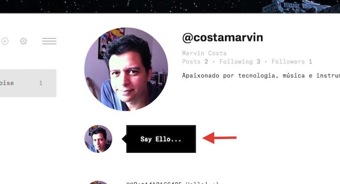 Utilizando a ferramenta de posts do Ello (Foto: Reprodução/Marvin Costa)