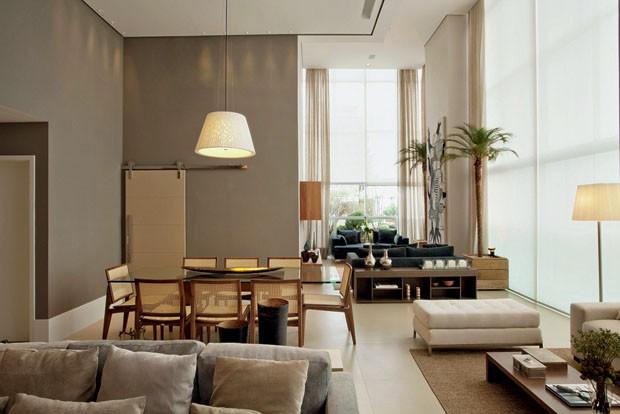 espaço gourmet do terraço, com coberturas de ripas de madeira e  ~ Sala De Estar Vogue