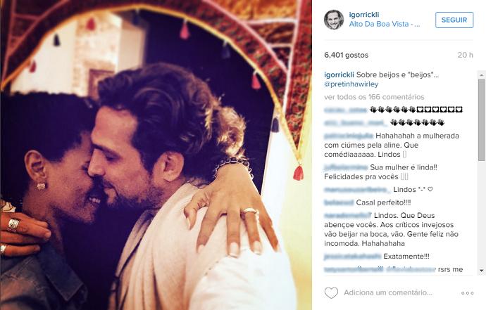 No Instagram, Igor postou foto romântica e fez uma menção discreta ao beijo que deu na bailarina (Foto: Reprodução/Instagram)