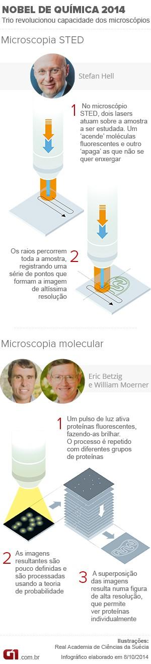 Nobel de Química 2014 info (Foto: Editoria de Arte/G1)