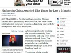 Jornal 'New York Times' denuncia ataques de hackers chineses