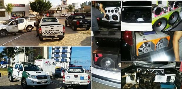 Realizada em conjunto entre a Companhia de Policiamento Ambiental e Secretaria Municipal de Meio Ambiente e Urbanismo, operação apreendeu vários equipamentos de som na Praça dos Gringos, em Ponta Negra (Foto: PM/Divulgação)