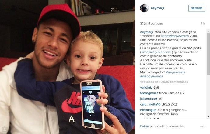 Neymar agradeceu o apoio na votação do Webby Awards pelo Instagram (Foto: Reprodução/ Instagram)