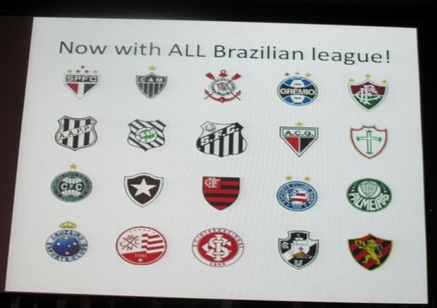 Konami mostrou os brasões dos 20 times da série A em anúncio de 'PES 2013' (Foto: Gustavo Petró/G1)