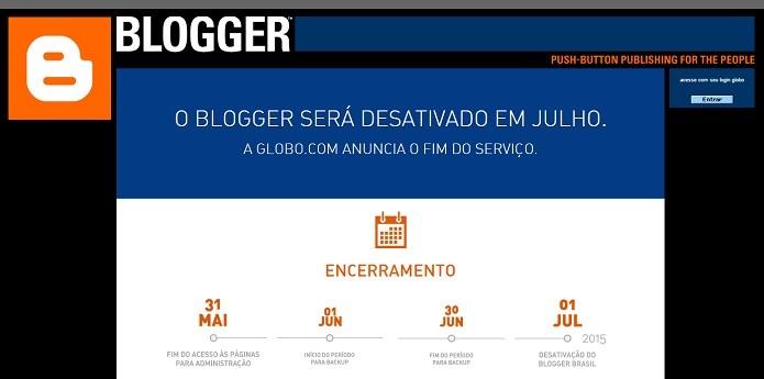 Sites do Blogger Brasil ficarão no ar para visualização até 30/06/2015 (Foto: Divulgação/globo.com)