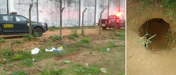 Saída do túnel foi encontrada na manhã deste sábado (16) por policiais militares da Força Nacional  (Foto: Divulgação/Força Nacional)