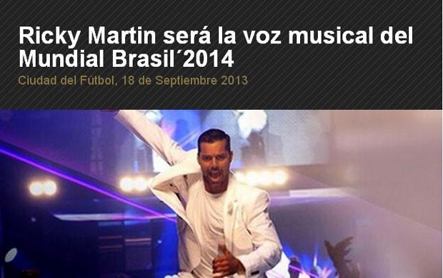 Ricky Martin mundial copa 2014 (Foto: Reprodução / Site Oficial seleção espanhola)