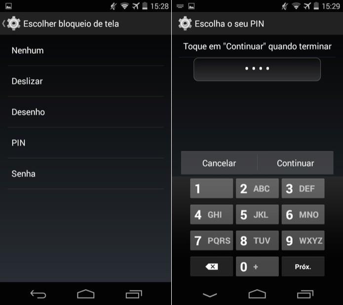 Android permite escolher entre bloqueio com senha, PIN ou desenho (padrão) (Foto: Reprodução/Helito Bijora)