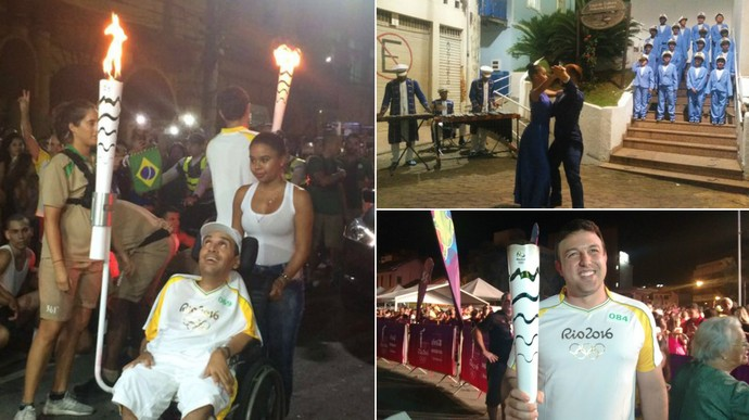 Passagem da Tocha Olímpica por Cachoeiro de Itapemirim (Foto: Montagem em imagens de Débora Fernandes e Rio 2016)