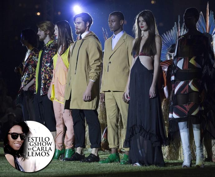 Modelos reunidos no final do desfile da Cavalera no São Paulo Fashion Week (Foto: Felipe Monteiro / Gshow)