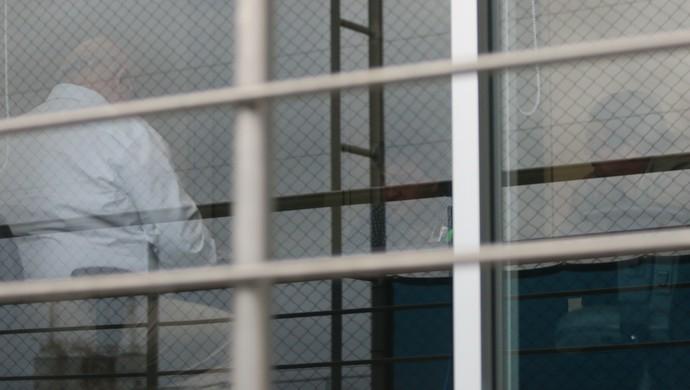 reunião presidente Romildo Bolzan Jr Alberto Guerra Júnior Chávare CT Grêmio (Foto: Eduardo Deconto/GloboEsporte.com)