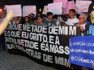 Manifestantes durante protesto na Baixada Santista (Foto: Ivair Vieira Jr/G1)