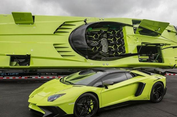 Lamborghini Aventador e lancha (Foto: Reprodução/eBay)