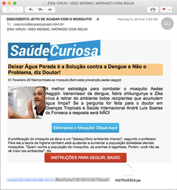 Spam enviado por cibercriminosos que usam epidemia de zika para espalhar ataque virtuai, identificado pela Symantec. (Foto: Divulgação/Symantec)