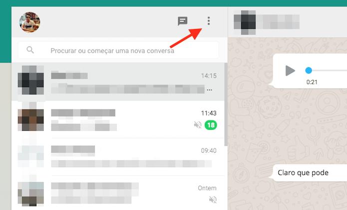 Iniciando as opções do WhatsApp Web (Foto: Reprodução/Marvin Costa)
