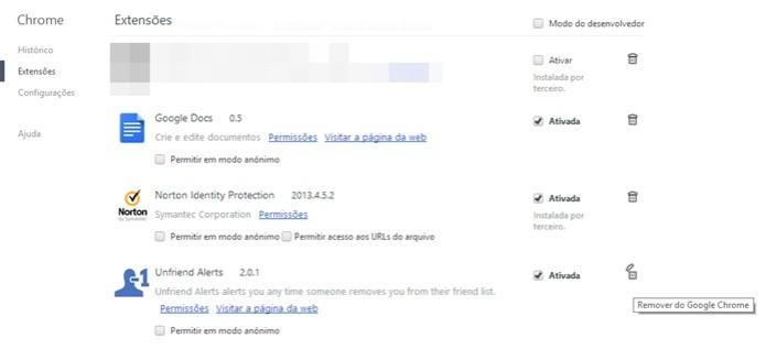 Opção de remover o Unfriend Alert do Facebook no Chrome (Foto: Reprodução/Carolina Ribeiro) (Foto: Opção de remover o Unfriend Alert do Facebook no Chrome (Foto: Reprodução/Carolina Ribeiro))