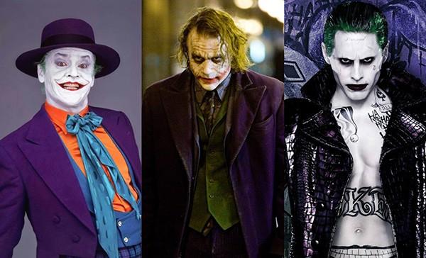Jack Nicholson em Batman (1989), Heath Ledger em Batman: O Cavaleiro das Trevas (2008), Jared Leto Esquadrão Suicida (2016) (Foto: Divulgação)