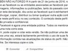 Texto que veta uso pelo Facebook de conteúdo publicado na rede social 'não serve para nada'