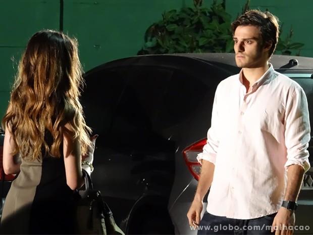 """Martin não consegue disfarçar carão quando Flaviana diz """"eu te amo"""" (Foto: Malhação/ TV Globo)"""
