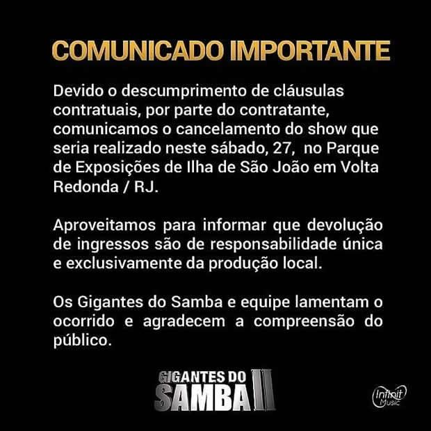 Gigantes do Samba II cancelam show em Volta Redonda (Foto: Divulgação/Site oficial)