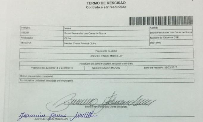 Documento foi assinado na tarde desta quinta-feira, 23 (Foto: Reprodução/Montes Claros FC)