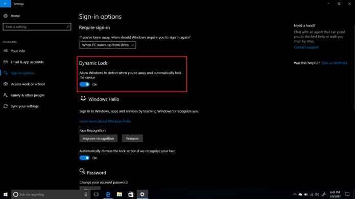 Nova opção do Windows vai trancar dispositivo quando usuário se afasta (Foto: Reprodução/Windows Central)