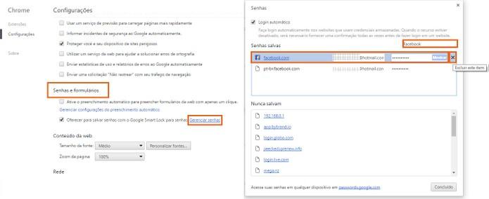 Apague sua conta do Facebook dos registros de senha do Chrome (Foto: Reprodução/Barbara Mannara)
