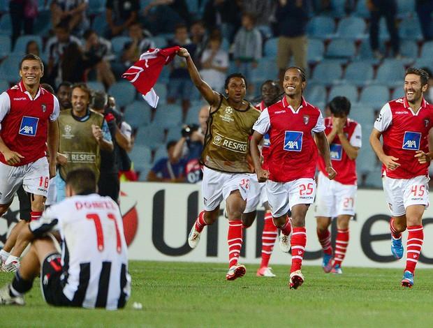 Comemoração, Udinese x Braga (Foto: Agência AFP)