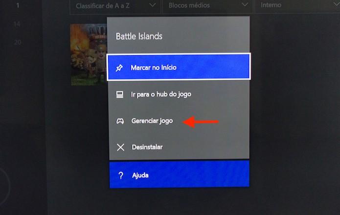 Acessando a página de gerenciamento de um jogo no Xbox One (Foto: Reprodução/Marvin Costa)