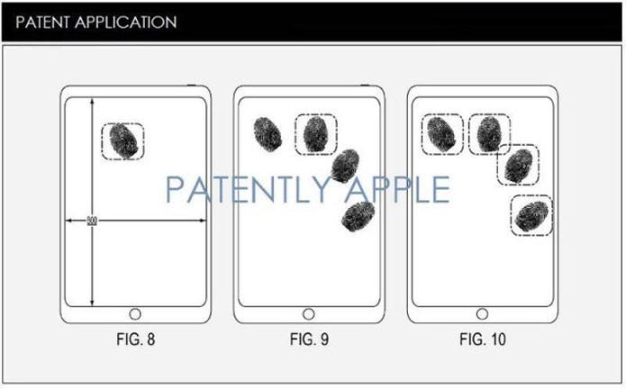 Esquema mostra que sensores poderiam identificar até quatro dedos ao mesmo tempo (Foto: Reprodução/Patently Apple)